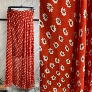 Vintage daisy print maxi skirt Small Fitted